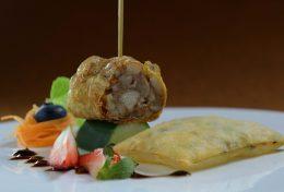 Deep-Fried Stuffed Loh Bak and Deep-fried Spring Onion & Prawn Paste Crackers