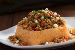 Deep Fried Bean Curd Topped with Salted Fish & Minced Meat